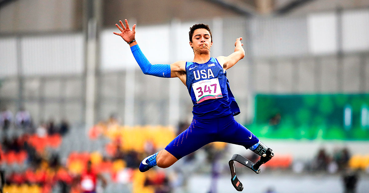 Ezra Frech, from the US, up in the air during the Para athletics competition at Lima 2019.
