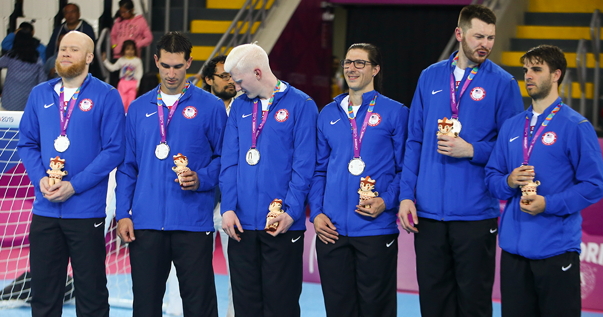 American men's goalball team receive the silver medal at Lima 2019