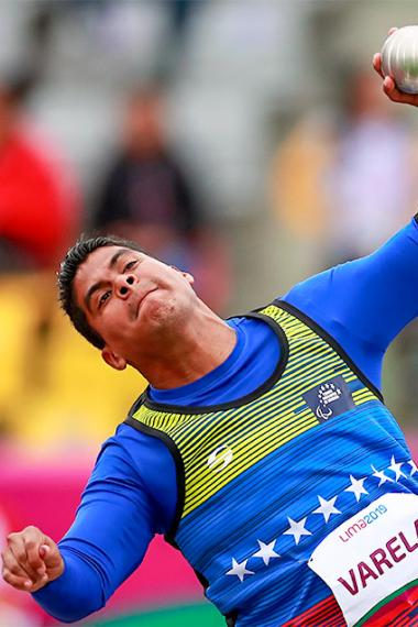 Edwars Varela from Venezuela during men's shot put F35/36/37 event at the National Sports Village – VIDENA, Lima 2019