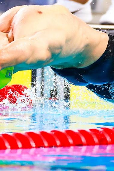 Brazilian Douglas Rocha during men's 100 m backstroke S13 competition, held at the National Sports Village - VIDENA