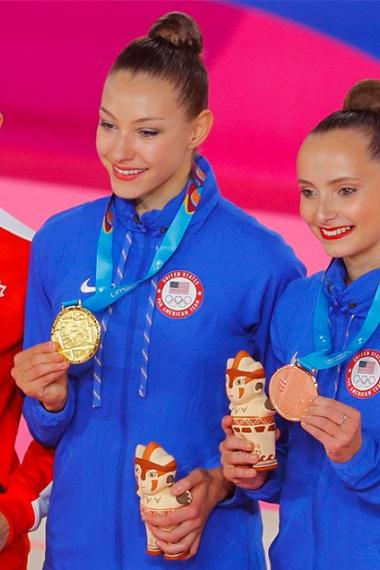 Canada's Katherine Uchida won silver; while Americans Evita Griskenas and Camila Feeley were awarded the gold and bronze medals, respectively in rhythmic gymnastics at the Villa El Salvador Sports Center