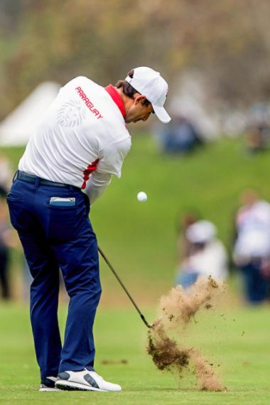 Fabrizio Zanotti from Paraguay hits the ball in the Lima 2019 final golf round at the Lima Golf Club