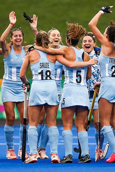 Argentinian team celebrates victory over Chile in the women's field hockey semifinal at the Lima 2019 Pan American Games at the Villa María del Triunfo Sports Center.