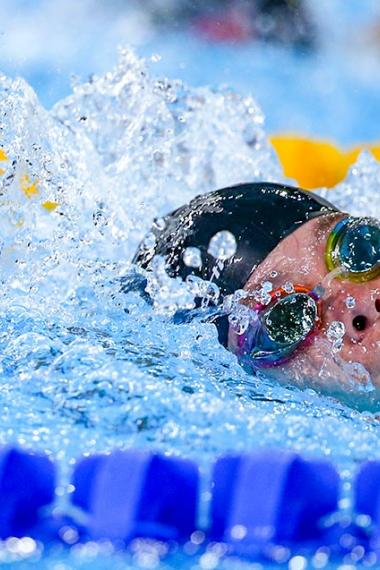 Blanca Mitchel from Antigua and Barbuda competing in the Lima 2019 women's 100m freestyle at the National Sports Village – VIDENA