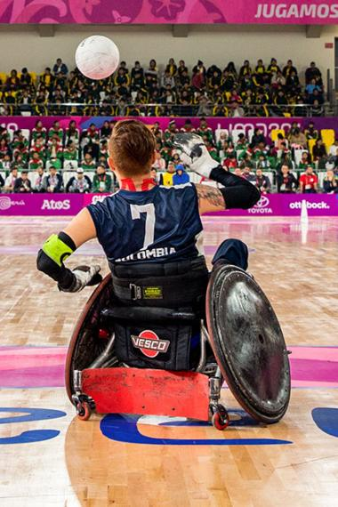 Brazil competes against Colombia for the bronze medal in Lima 2019 wheelchair rugby at the Villa El Salvador Sports Center