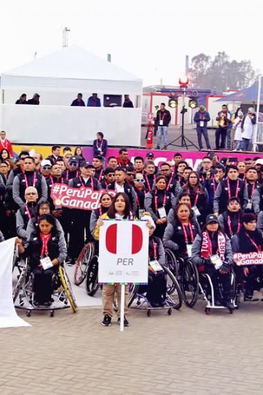 The delegation of 139 Peruvian Para athletes pose for a photo at the Lima 2019 Parapan American Village