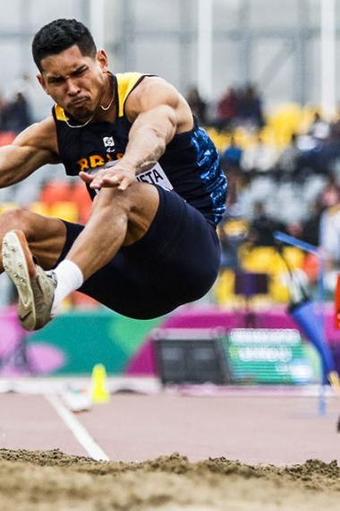 ateus Evangelista from Brazil competing in long jump T37/38 at the National Sports Village – VIDENA, Lima 2019 Parapan American Games