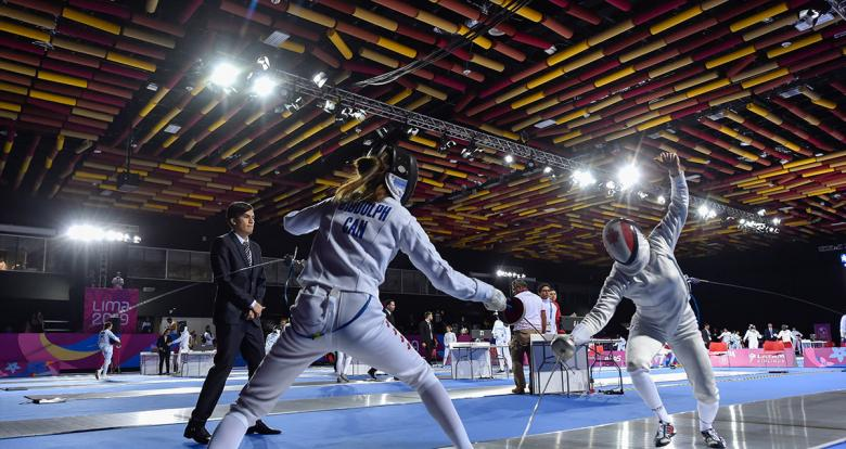Shauna Biddulph and Kelly Fitzsimmons compete at fencing event for Modern Pentathlon