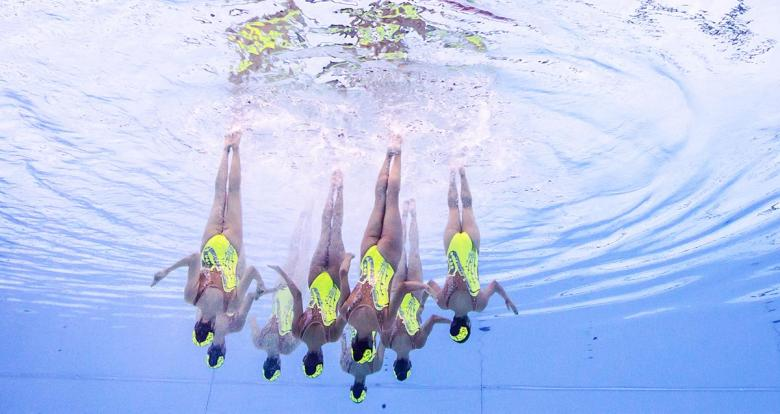 Mexico participates in Artistic Swimming team routine