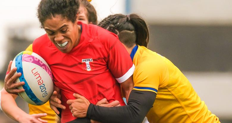 Peru's Paula Pacheco facing Brazil on the first day of Rugby-sevens competition