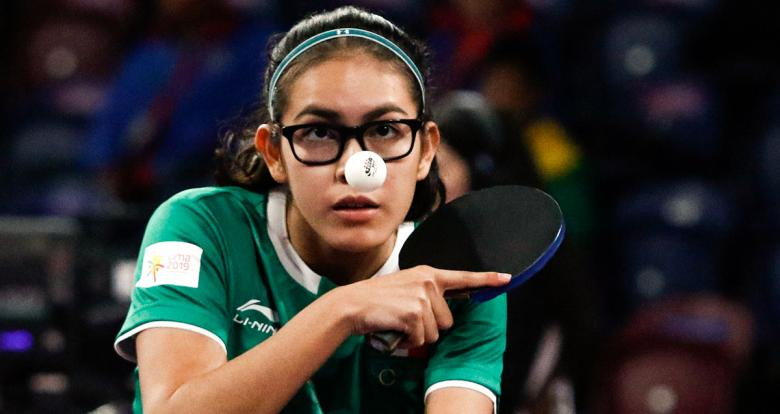 Clio Barcenas of Mexico focuses in table tennis match against Brazil of the Lima 2019 Games at the National Sports Village – VIDENA