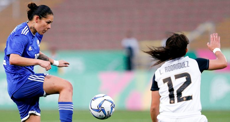 Paraguayan striker Jessica Martinez faces off Costa Rica in Lima 2019 football competition at San Marcos Stadium