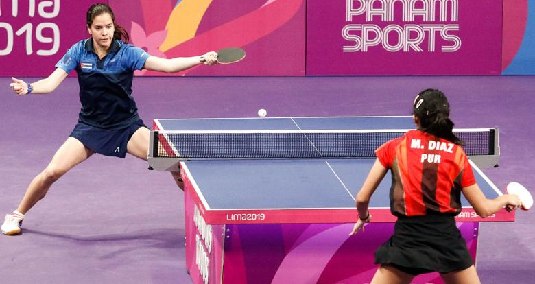 Daniela Fonseca of Cuba and Melanie Díaz of Puerto Rico face off in the Lima 2019 table tennis competition at the National Sports Village – VIDENA