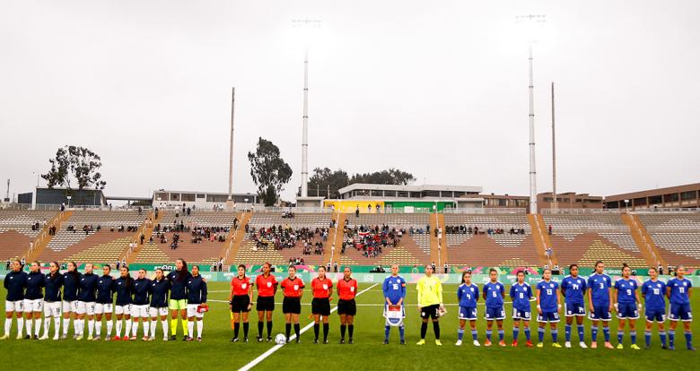 Paraguay and Costa Rica women's football teams get ready to start the match for the bronze medal at San Marcos Stadium