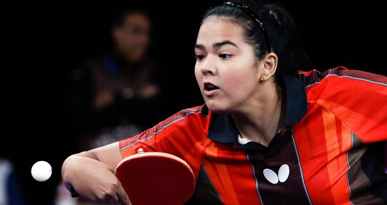 Melanie Díaz of Puerto Rico returns the ball in the table tennis match against Cuba of the Lima 2019 Games at the National Sports Village – VIDENA