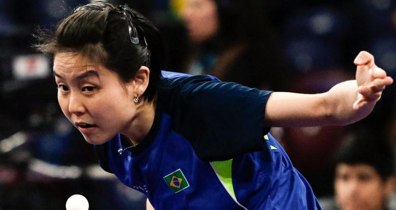 Brazilian Jessica Yamada goes up against Mexican athletes in the Lima 2019 table tennis competition at the National Sports Village – VIDENA