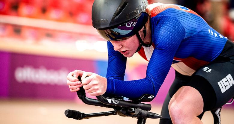 Clara Brown from USA in the women's individual pursuit C1-3 competition at the National Sports Village – VIDENA, Lima 2019
