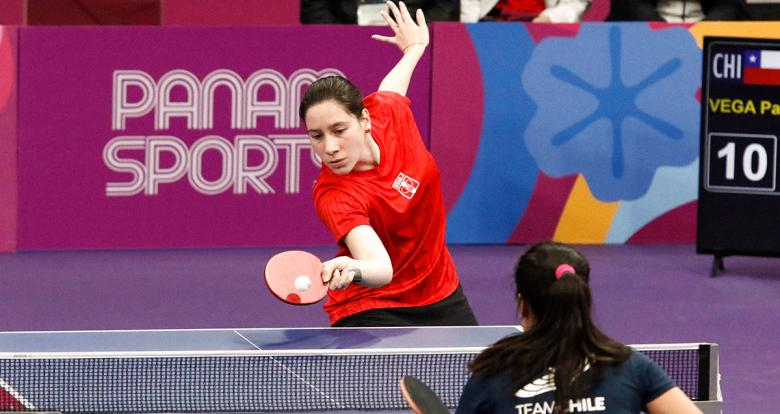 Angela Mori of Peru and Paulina Vega of Chile face off in the Lima 2019 table tennis competition at the National Sports Village – VIDENA