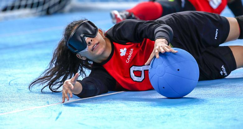 Canadian Roby Hammad vs. Mexico during Lima 2019 women's goalball match at the Callao Regional Sports Village.
