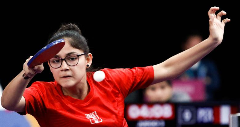 Peruvian Isabel Duffoo goes up against the Chilean team in the Lima 2019 table tennis competition at the National Sports Village – VIDENA