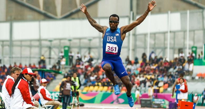 Para athlete Markeith Price from the US soars through the air in the Lima 2019 men's long jump T13 competition at the National Sports Village - VIDENA