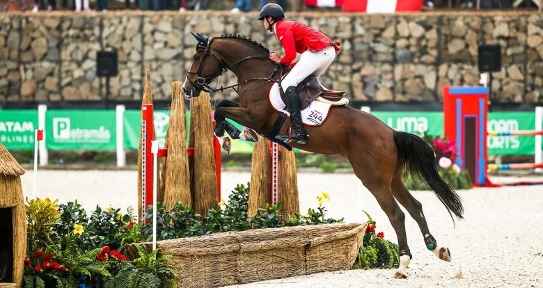 Noé Ben Lamine Díaz of Peru in the Lima 2019 jumping competition at the Army Equestrian School