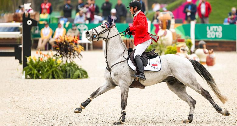 Ignacio Montesinos of Chile competes on his horse Cornetboy in the Lima 2019 jumping competition at the Army Equestrian School