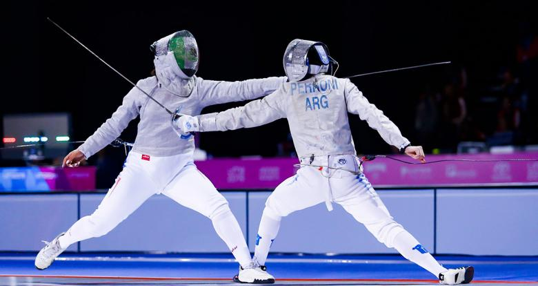 Natalia Botello from Mexico does maneuver in the Lima 2019 fencing competition held at the Lima Convention Center