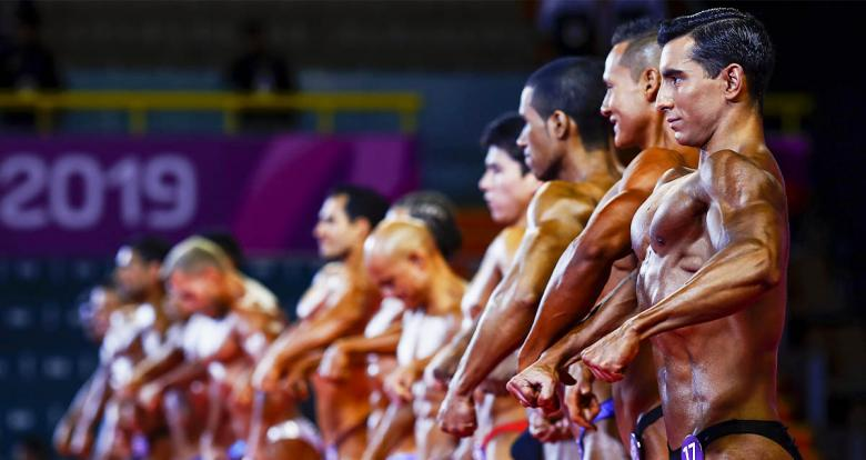 The Chilean Pablo Matus shows off his body during the Lima 2019 bodybuilding event held at the Chorrillos Military School