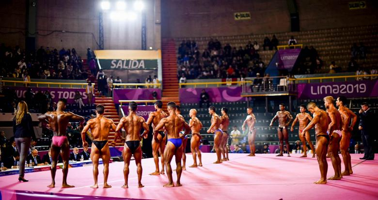 International athletes posing during the last Lima 2019 bodybuilding event held at the Chorrillos Military School