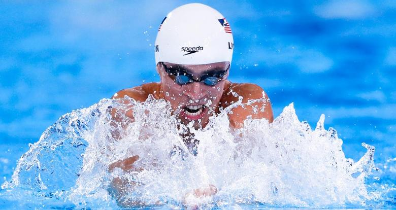 William Licon from the United States in the Lima 2019 men's 200 m breaststroke at the National Sports Village – VIDENA