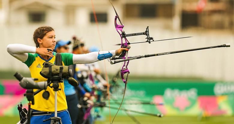 Brazilian Ana Sliachticas competes in the Lima 2019 recurve match at the Villa María del Triunfo venue