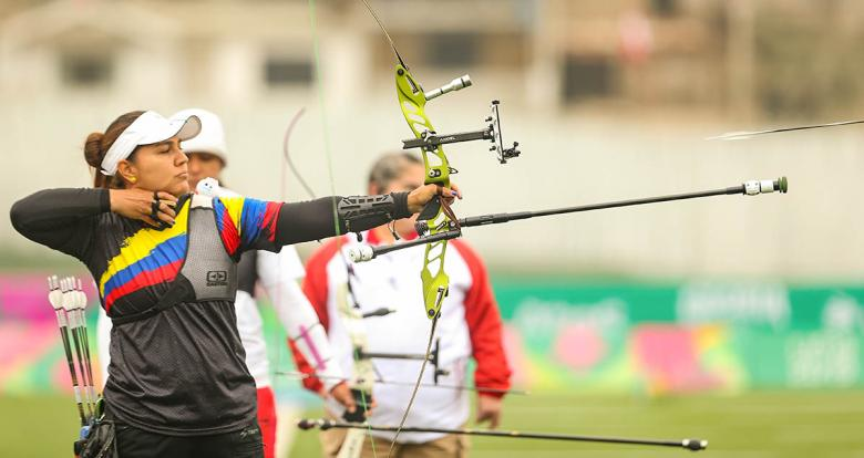Archer Valentina Acosta competes in the Lima 2019 archery event at the Villa María del Triunfo venue