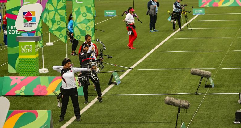 Pan American athletes competing in the Lima 2019 archery event at the Villa María del Triunfo Venue