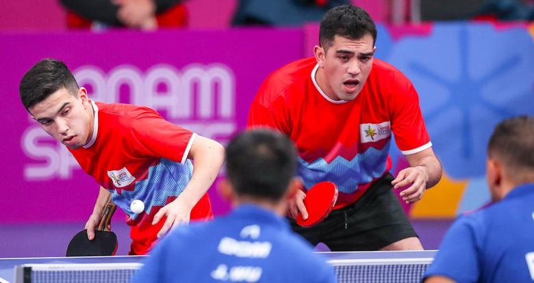 Horacio Sifuentes and Gastón Alto from Argentina competing against the Dominican duo in Lima 2019 men's doubles table tennis semifinals at the National Sports Village (VIDENA)