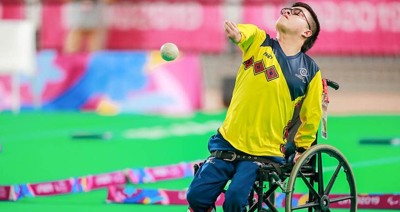 Colombia's Duban Cely competing in individual BC4 boccia match at the Villa El Salvador Sports Center in Lima 2019
