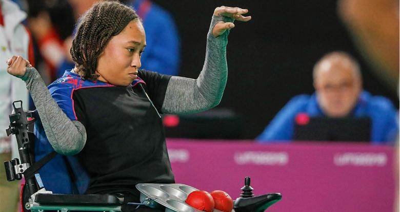 Yushae Desilva from Bermuda during the Lima 2019 boccia BC1 match against Mexico at the Villa El Salvador Sports Center