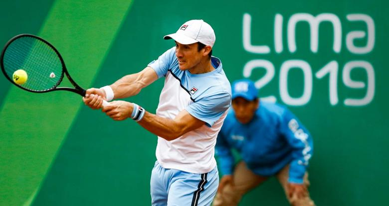 Argentinian Facundo Bagnis during Lima 2019 tennis match at Club Lawn Tennis