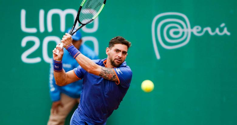 Argentinian Guido Andreozzi competes against Facundo Bagnis for the bronze medal at the Lima 2019 Games at Club Lawn Tennis