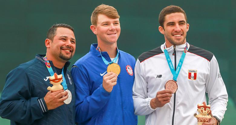 Nicolas Pacheco from Perú (bronze), Juan Schaeffer from Guatemala (silver) y Christian Elliott from US (gold) show their medals won in men's skeet at Las Palmas Air Base, Lima 2019 Games