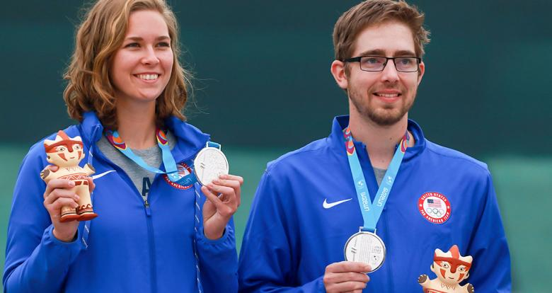 Minden Miles and Lucas Kozeniesky from US showing their silver medals of the mixed 10m air rifle competition at Las Palmas Air Base, Lima 2019 Games