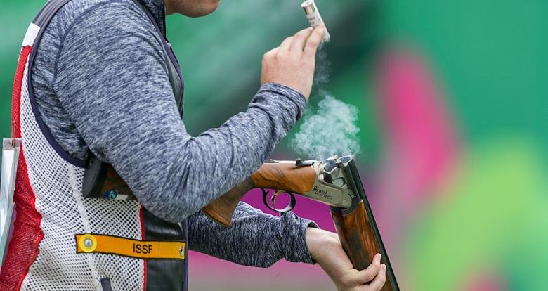 Phillip Jungman fro US getting ready to shoot in the Men's Skeet competition at Las Palmas Air Base, Lima 2019 Games