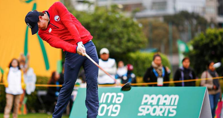 Guillermo Pereira from Chile competes in Lima 2019 golf competition held at the Lima Golf Club.