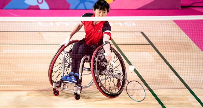 Yuka Chokyu from Canada vs. Peru in the women's singles Para badminton WH2 final at Lima 2019 at the Villa El Salvador Sports Center