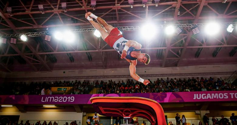 Grant Breckenridge from the US competes in the men's artistic gymnastics event at Lima 2019, in the Villa El Salvador Sports Center