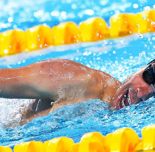 Brazilian Daniel de Faria competes in men's 200m freestyle S5 Para swimming event at Lima 2019 at the National Sports Village – VIDENA.