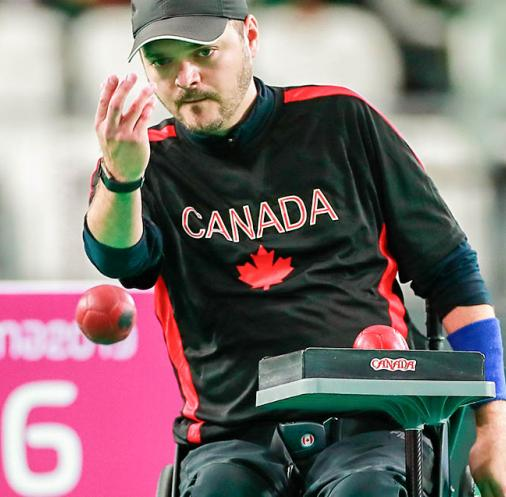 Canada's Iulian Ciobanu during individual BC4 boccia match at the Villa El Salvador Sports Center in Lima 2019