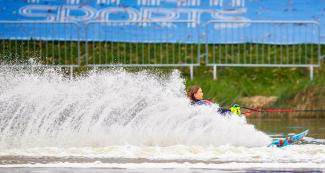 Francesca Pigozzi performs tricks in the water ski competition