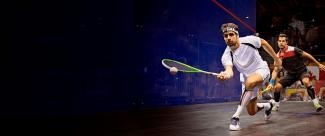 Players during a squash match