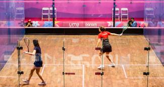 Canadian Samantha Cornett competes against Argentinian Pilar Etchechoury in squash
